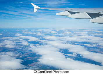 Beautiful airplane view above clouds - Beautiful view above...