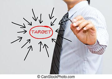 Business man writing target goal