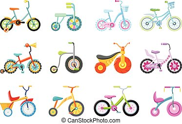 Set of Kids Bicycles and Tricycles