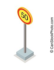 Fifty Kilometres Per Hour Speed Limit Sign - Fifty...