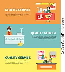 Set of Quality Service in Supermarket Banners. - Set of...