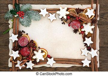 Christmas Abstract Food Border - Christmas abstract...