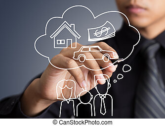 Businessman drawing dream house in a whiteboard (insurance, house, dreams)