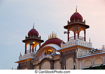 Indian Palace - Detail of the Mysore Palace in India.
