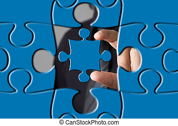 puzzle piece coming down into it s place