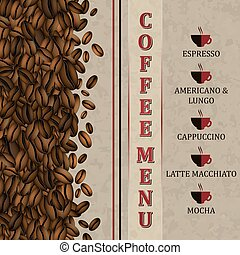Coffee menu background with coffee beans - Coffee menu...