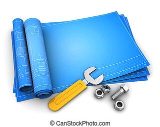 blueprints - 3d illustration of rolled blueprints template...