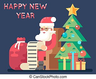 Santa Claus Tree Bell Gifts List Christmas New Year Icon...