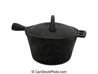 Sooty cast-iron pot on white background