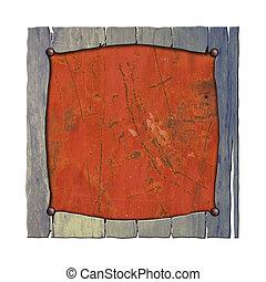 set 8. rustic wood frame on rusty metal plate.
