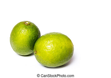 Lime - A whole fresh lime isolated on a white background