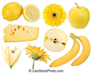 Set of yellow fruits, food and flowers. Isolated on white...