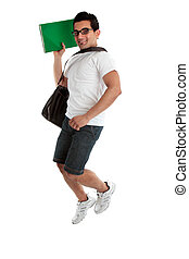 Jumping student holding book - A happy smiling energetic...