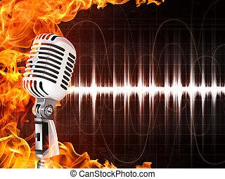 micrófono, fuego, Plano de fondo