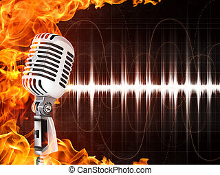 microfone, fogo, fundo