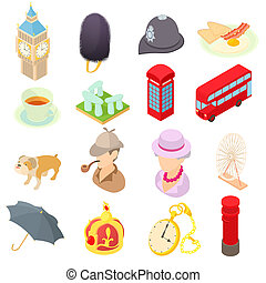 Great Britain icons set, isometric 3d style - icons set in...