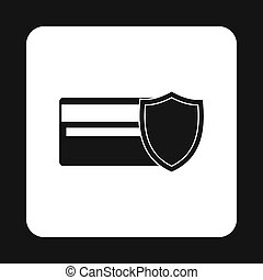 Protection of a plastic card icon, simple style - Protection...