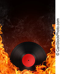 Record in Fire. Computer Graphics. Design Element.