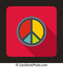 Peace symbol icon, flat style - icon in flat style on a...