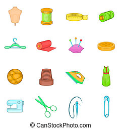 Tailoring icons set, cartoon style - Tailoring icons set in...