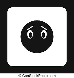 Sad emoticon without mouth icon, simple style - Sad emoticon...