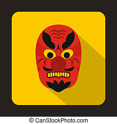 Hannya mask icon, flat style - icon in flat style on a...