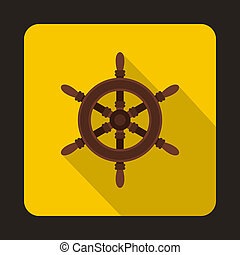 Ship steering wheel icon, flat style - Ship steering wheel...