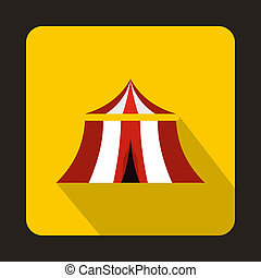 Circus tent icon, flat style