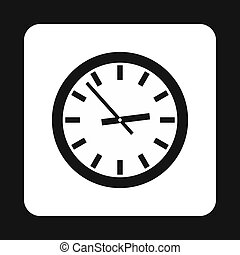 Wall clock icon, simple style - Wall clock icon in simple...