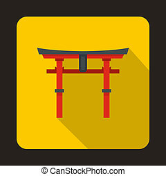 Japan gate icon in flat style - icon in flat style on a...