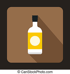 Sake bottle icon, flat style - icon in flat style on a...