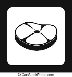 Steak meat icon, simple style - Steak meat icon in simple...