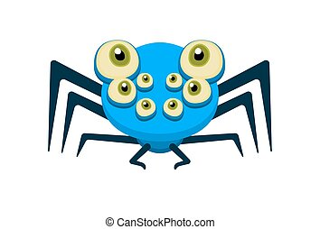 Cute blue spider with open eyes. Character design for...