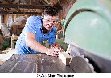 木頭, 切, 看見, 木匠, 圓
