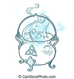 Hand drawn magic cauldron vector - Blue boiling magic...