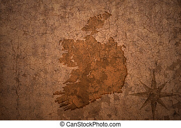 ireland map on vintage crack paper background - ireland map...