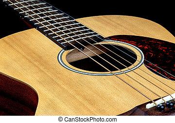 acústico, guitarra, oblicuo, cierre, Arriba
