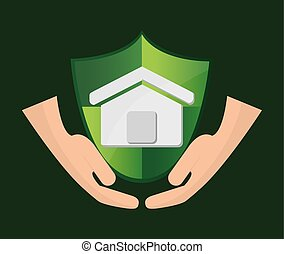 insurance services related icons image - shield and house...
