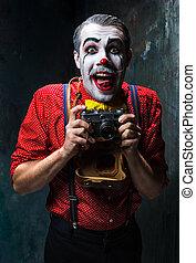 a, assustador, Palhaço, e, Um, câmera, ligado, dack, fundo,...