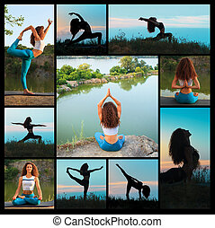 The collage from silhouettes of young woman practicing yoga...