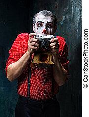 assustador, conceito, câmera, dia das bruxas, Palhaço,...