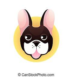 Vector set of French Bulldog face