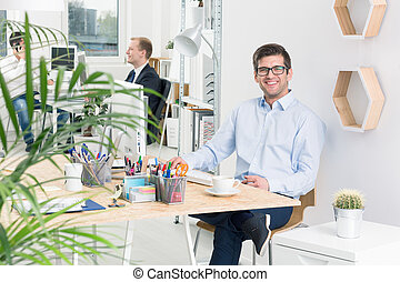 Satisfied with the project results - Working area in the...