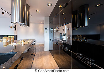 Narrow lacquered kitchen - Narrow but comfortable kitchen...