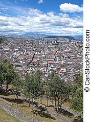 Quito city, Ecuador - High view of the city of Quito,...