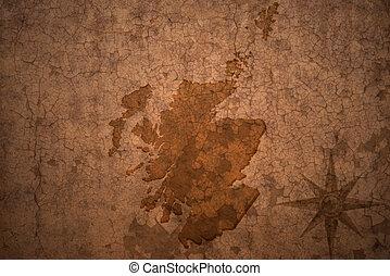 scotland map on vintage crack paper background