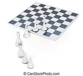 Row of chess pieces isolated on a white background. 3d rendering