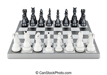 Chess front view isolated on white background 3d rendering