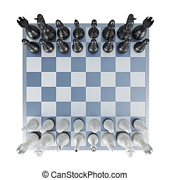 Chess top view isolated on white background 3d rendering