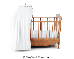 Wooden crib with canopy isolated on white background. 3d...